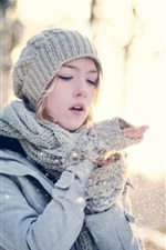 Preview iPhone wallpaper Winter forest girl
