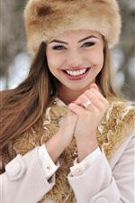 Preview iPhone wallpaper Winter girl happy smile