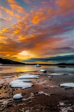 Preview iPhone wallpaper Winter, lake, snow, ice, morning, clouds, sunrise