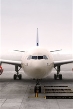Preview iPhone wallpaper Airbus A340 aircraft front view, airport