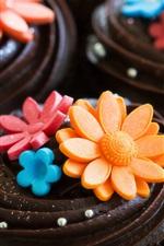 Preview iPhone wallpaper Art cake, chocolate, cream, flowers, sweet, dessert