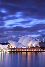 Preview iPhone wallpaper Australia, Sydney Opera House, night, bridge, lights, blue, sea, sky, clouds