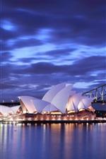 Australia, Sydney Opera House, night, bridge, lights, blue, sea, sky, clouds