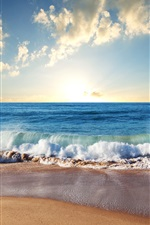 Preview iPhone wallpaper Beach, sand, blue sea, waves, clouds, sun