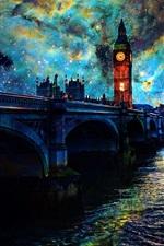 Preview iPhone wallpaper Beautiful art pictures, stars, night, London, bridge, river, lights