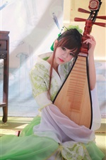 Preview iPhone wallpaper Beautiful classical Chinese girl playing the pipa