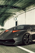 Preview iPhone wallpaper Black Lamborghini supercar in the tunnel