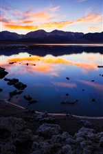 Preview iPhone wallpaper California, lake, mountains, clouds, water reflection, dusk