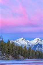 Preview iPhone wallpaper Canada, National Park, river, mountain, clouds, purple sky, winter