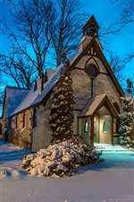 Preview iPhone wallpaper Church, winter, snow, trees, night