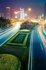 City night, lights, street, buildings, blur