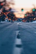 Preview iPhone wallpaper City, street, bokeh, winter, road, lights