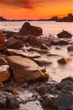 Preview iPhone wallpaper Coast, sea, stones, sunset, red sky