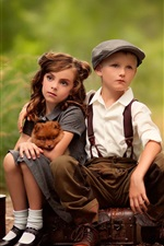 Preview iPhone wallpaper Cute child, girl, boy, dog, suitcases, waiting