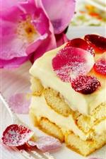 Preview iPhone wallpaper Dessert, sweet cake, roses, petals