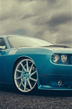 Preview iPhone wallpaper Dodge Challenger blue car