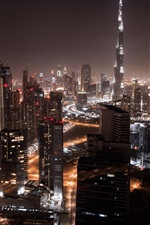 Preview iPhone wallpaper Dubai, city night, skyscrapers, lights, roads