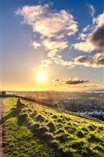 Preview iPhone wallpaper Edinburgh, Scotland, sunset, road, sky, clouds