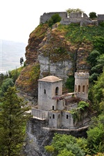 Preview iPhone wallpaper Erice, Sicily, Italy, mountains, valley, sky, castle, trees