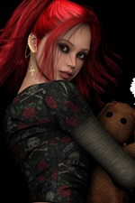Preview iPhone wallpaper Fantasy red hair girl with toy bear