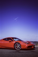 Preview iPhone wallpaper Ferrari 458 Speciale supercar, dusk, sky