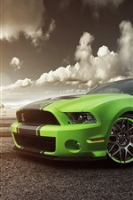 Preview iPhone wallpaper Ford Mustang Shelby GT500 green supercar front view