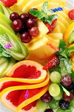 Preview iPhone wallpaper Fruit salad, strawberry, pineapple, kiwi, lemon, apple, grapes