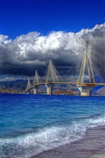 Preview iPhone wallpaper Greece, Gulf of Corinth, cable-stayed bridge, water, coast, sky, clouds