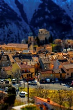 Preview iPhone wallpaper Greolieres, France, town, houses, Alps, tilt-shift photography