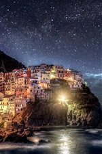 Preview iPhone wallpaper Italy, Liguria, Manarola, Cinque Terre, night lights, house, coast