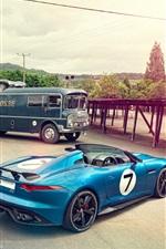 Jaguar Project 7 Concept blue car, Jaguar D-Type 1954