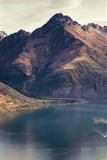 Preview iPhone wallpaper Lake Wakatipu, Queenstown, New Zealand, mountains, river, boat