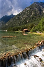 Lake, mountain, lodge, stone, clouds