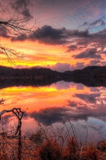 Preview iPhone wallpaper Lake, sunset, evening, forest, trees, water reflection, sky, clouds