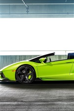 Lamborghini Aventador LP-740 green supercar side view
