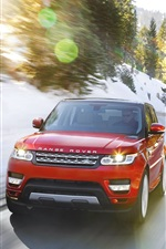 Preview iPhone wallpaper Land Rover Range Rover red car in winter