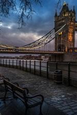 Preview iPhone wallpaper London, England, Tower Bridge, river, sidewalk, benches, lights, evening