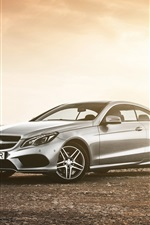 Preview iPhone wallpaper Mercedes-Benz E class coupe, car in dusk