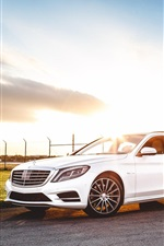 Preview iPhone wallpaper Mercedes-Benz S550 AMG white car at sunset