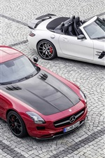 미리보기 iPhone 배경 화면 메르세데스 - 벤츠 SLS AMG 빨간색과 흰색 차