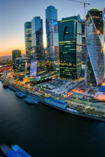 Preview iPhone wallpaper Moscow City, river, bridge, sunset, buildings, lights