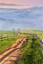 Preview iPhone wallpaper Nature scenery, countryside, mountains, grass, mist, village, road