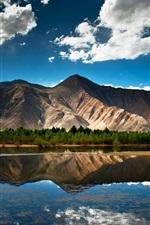 iPhone fondos de pantalla Naturaleza verano, lago, montaña, bosque, cielo, nubes, reflexión del agua