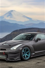 Preview iPhone wallpaper Nissan GT-R black supercar side view