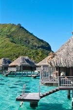 Preview iPhone wallpaper Ocean, sea, mountain, wooden houses, Moorea, French Polynesia