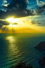 Preview iPhone wallpaper Ocean, sea, sky, clouds, sun rays, mountains, dusk