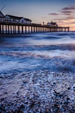 Preview iPhone wallpaper Pier, houses, fence, sea, waves, beach, morning, sky, sunrise, clouds