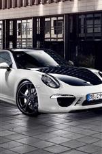 Preview iPhone wallpaper Porsche 911 Carrera 4 white car