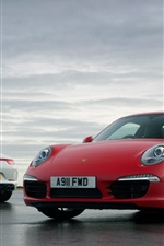 Preview iPhone wallpaper Porsche 911 white and red supercar