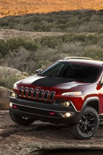 Preview iPhone wallpaper Red Jeep Cherokee car